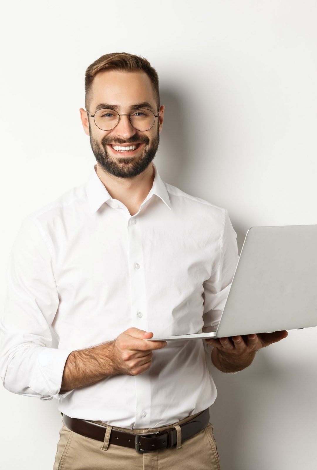 business-sucessful-businessman-working-with-laptop-using-computer-and-smiling-standing